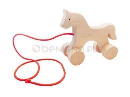 Drewniany konik na sznurku