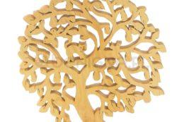 Ozdoba z drewna - ażurowe drzewko z kotkiem