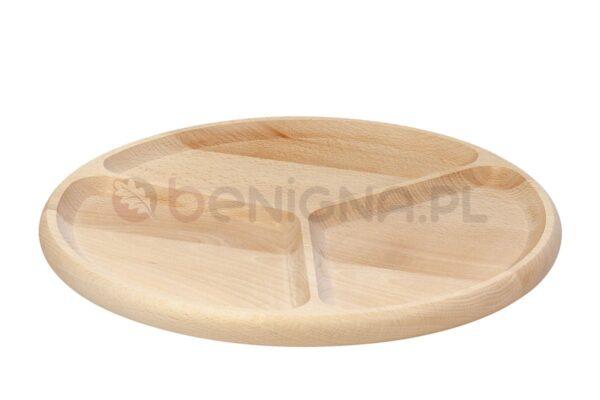 Drewniany półmisek, talerz dzielony na 3 części