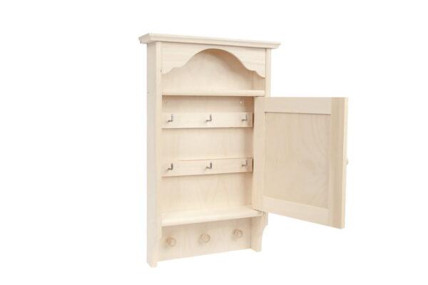 Drewniana szafka na klucze, 9 haków – grawer